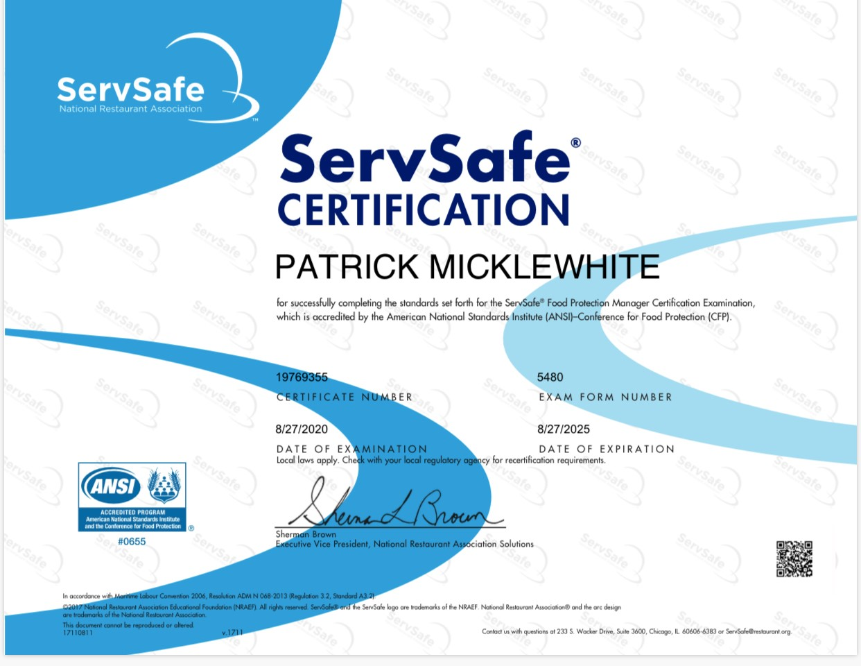 Serve Safe Certification