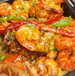 Chicken & shrimps rasta pasta