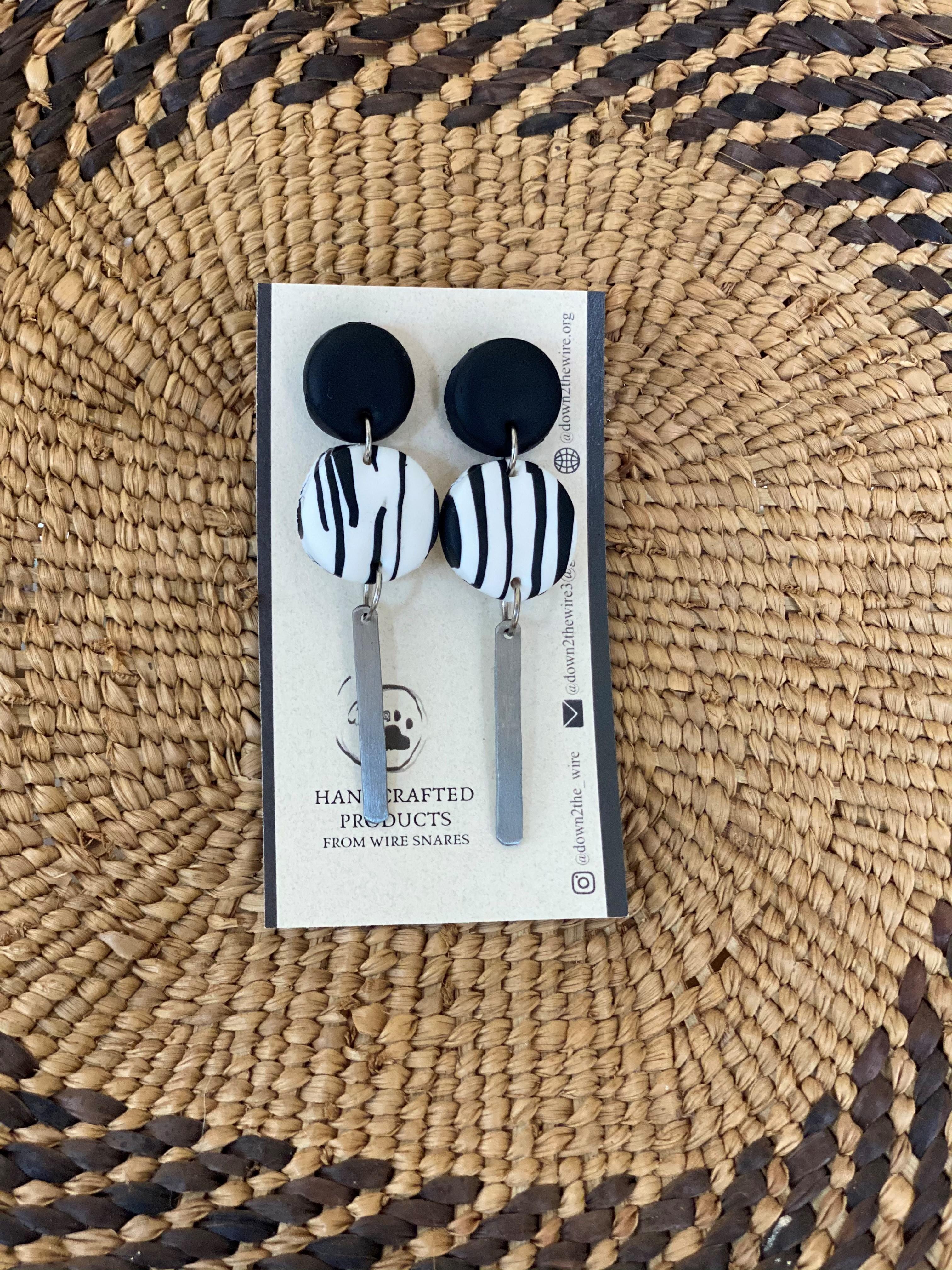 zebra snare earring