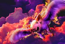 FLAMING FLYING HAPPY GIRL PIG