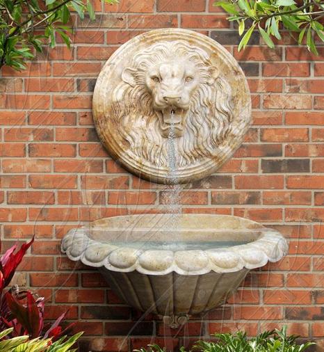 Настенный мраморный фонтан «Лев-491»