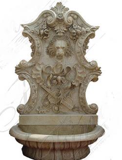 Настенный мраморный фонтан «Лев-364»