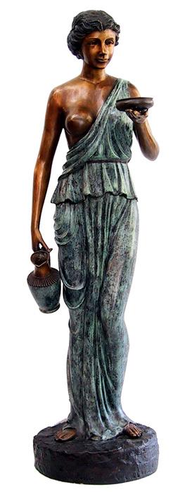 Бронзовая скульптура для фонтана  «ЖЕНЩИНА С КУВШИНОМ И ЧАШЕЙ»