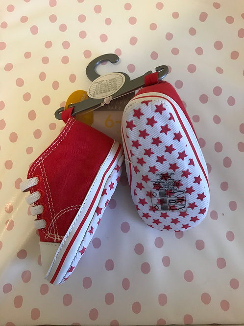 Brand new red trainer pram shoes - size 6-9 months