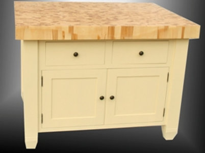 Large Painted Butcher's Block with Cupboard & Drawers