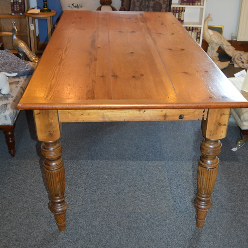 SOLD Antique Pine Table with fluted legs