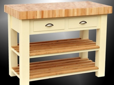 Large Painted Butcher's Block with Shelves & Drawers