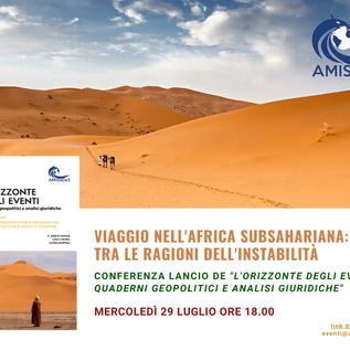 """Conferenza online """"Viaggio nell'Africa Subsahariana: tra le ragioni dell'instabilità"""", 29 luglio"""