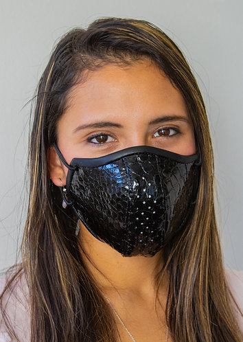 Womens Mask - Black Embossed Lamb