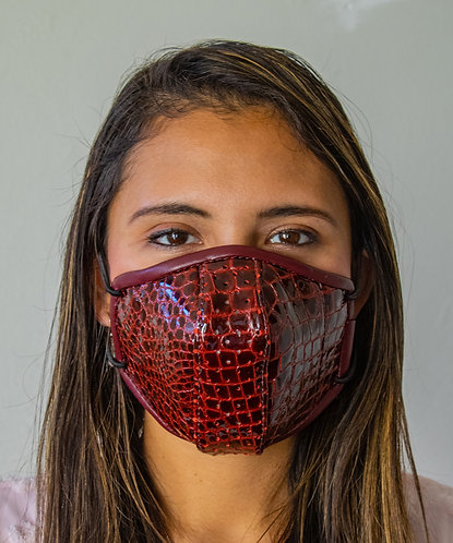 Luxury Leather Face Mask - Womens/Red Embossed Crocodile