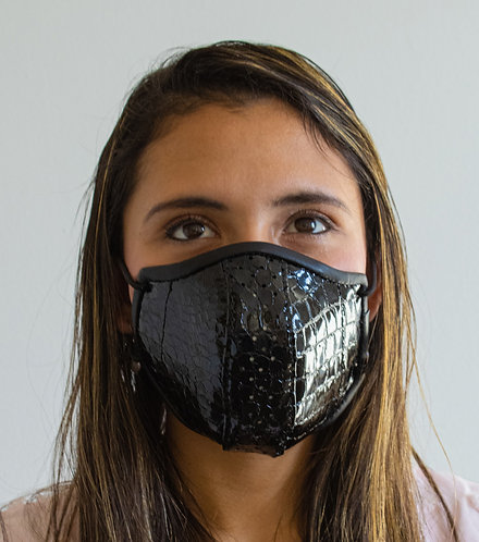 Luxury Leather Face Mask - Womens/Black Embossed Crocodile