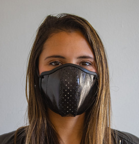 Luxury Leather Face Mask - Womens/Black Kid