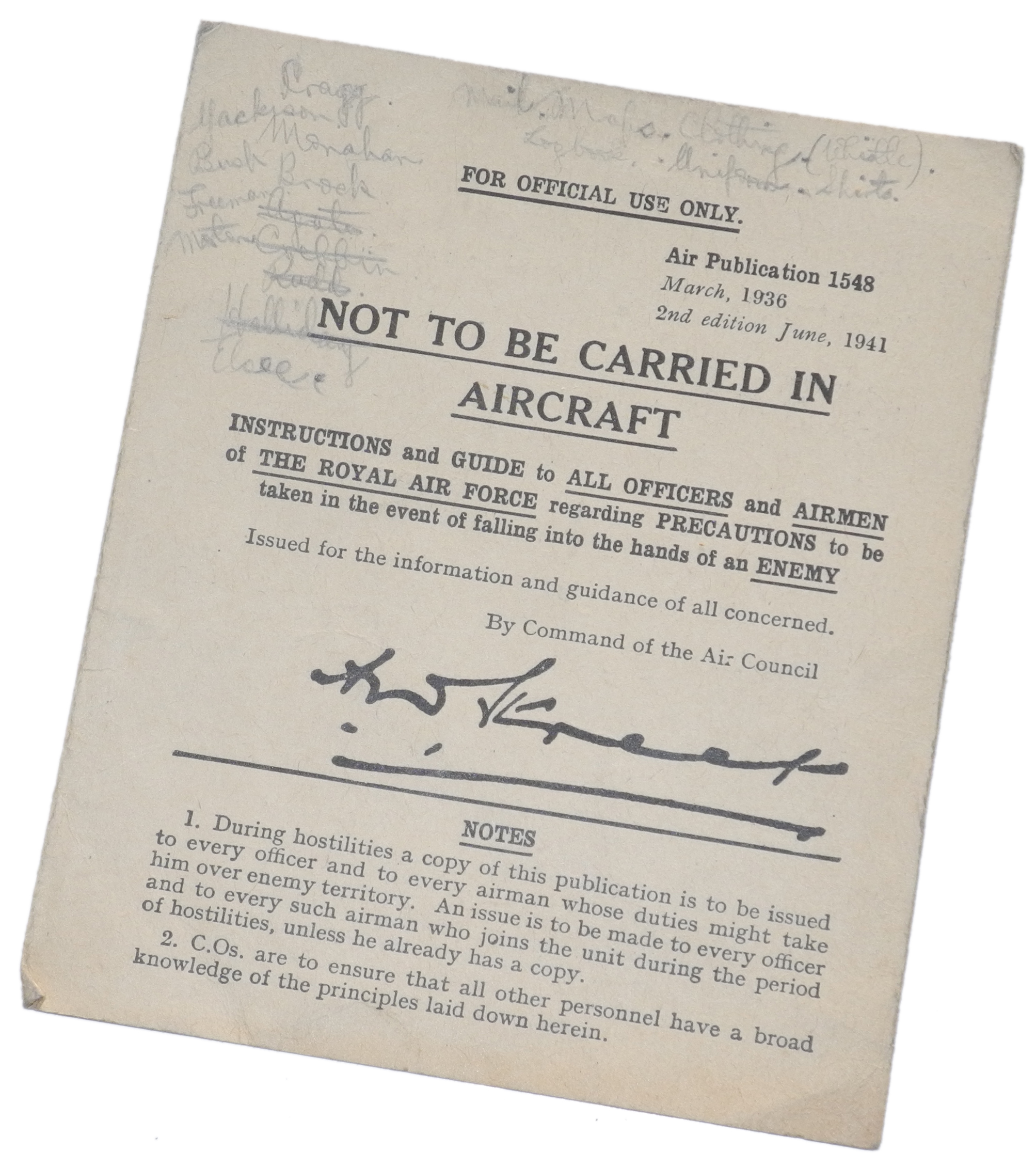 RAF capture instructions AP1548