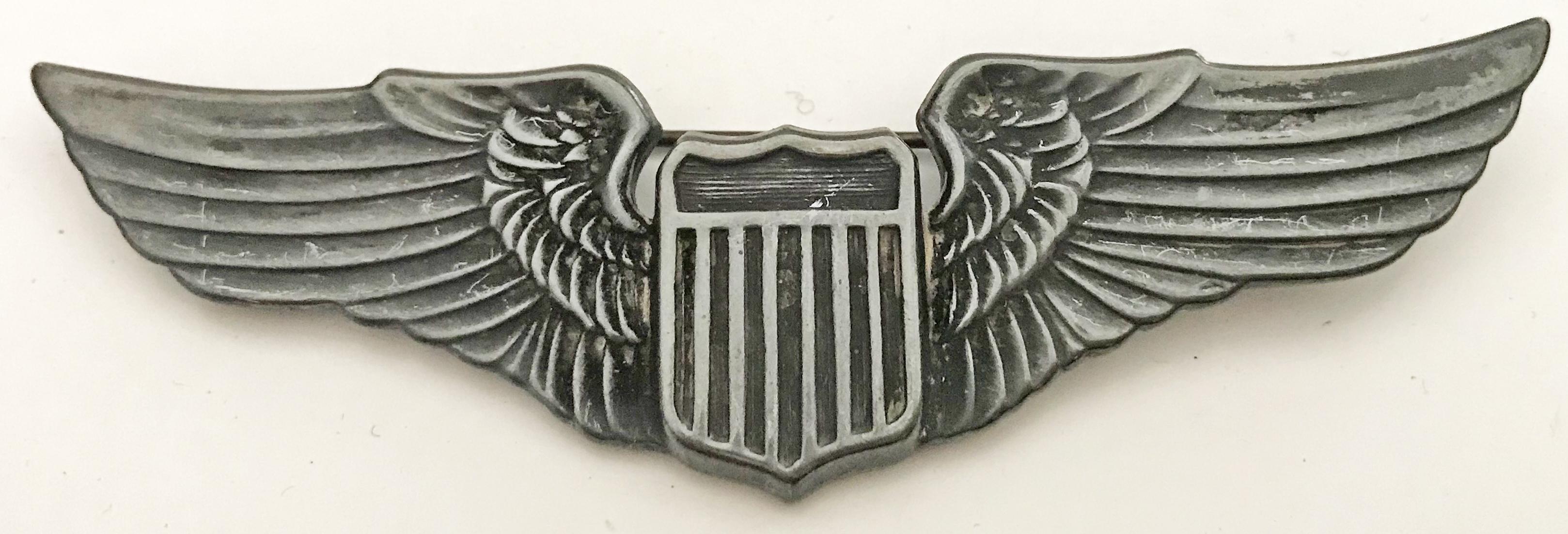"AAF pilot AAF ""Juarez"" pilot wing pin-back sterling"