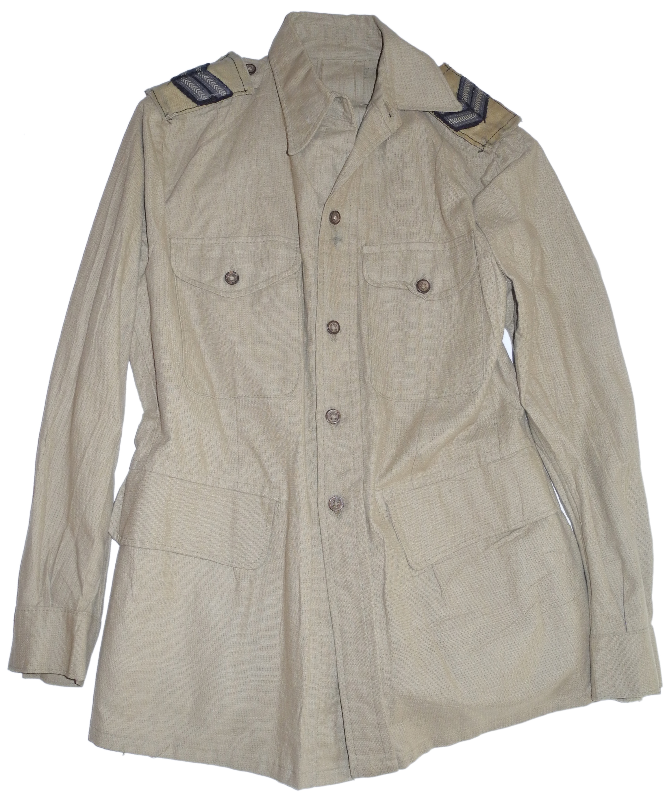 RAF bush shirt with corporal's stripes rank slides, dated 1945