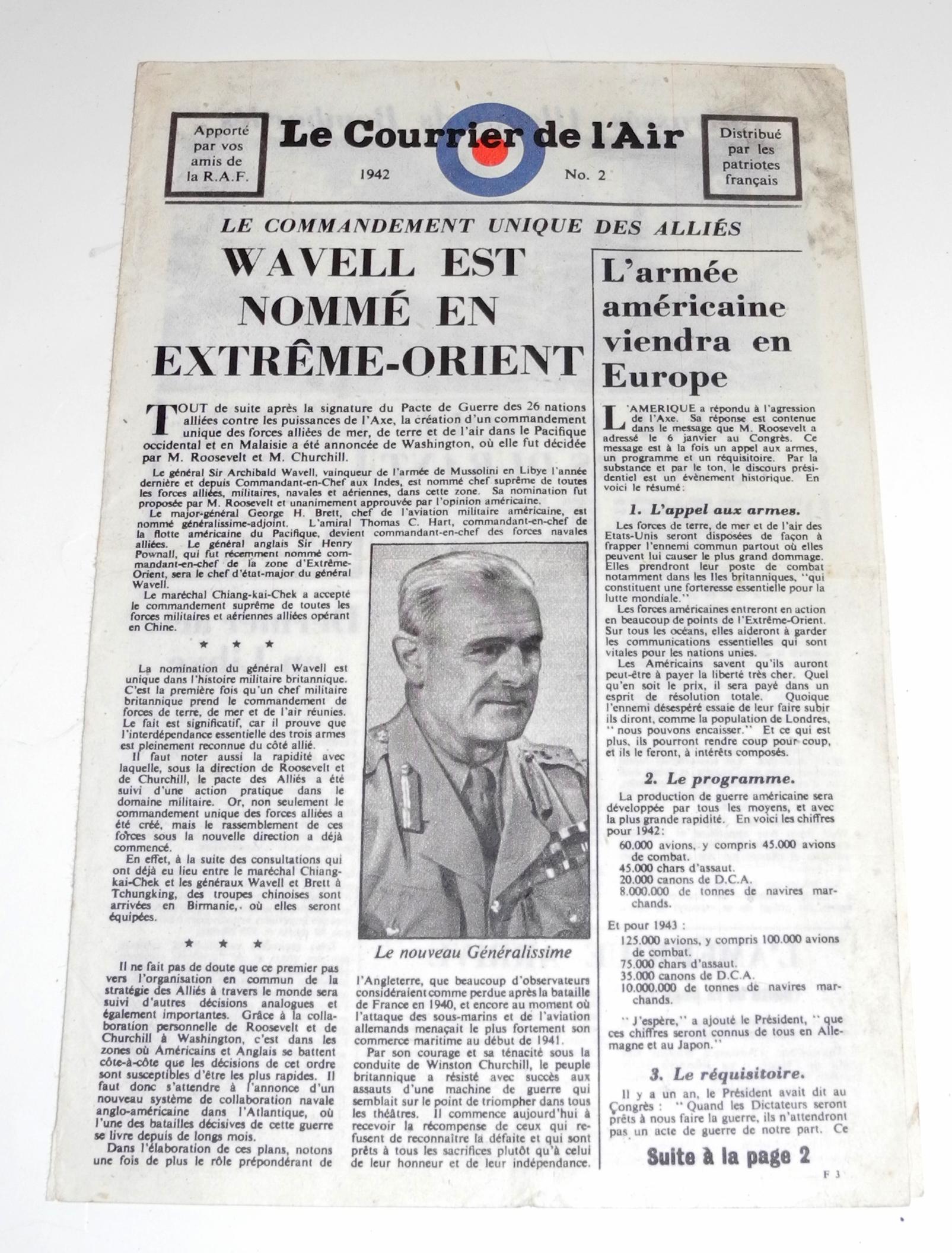 RAF dropped propaganda leaflet