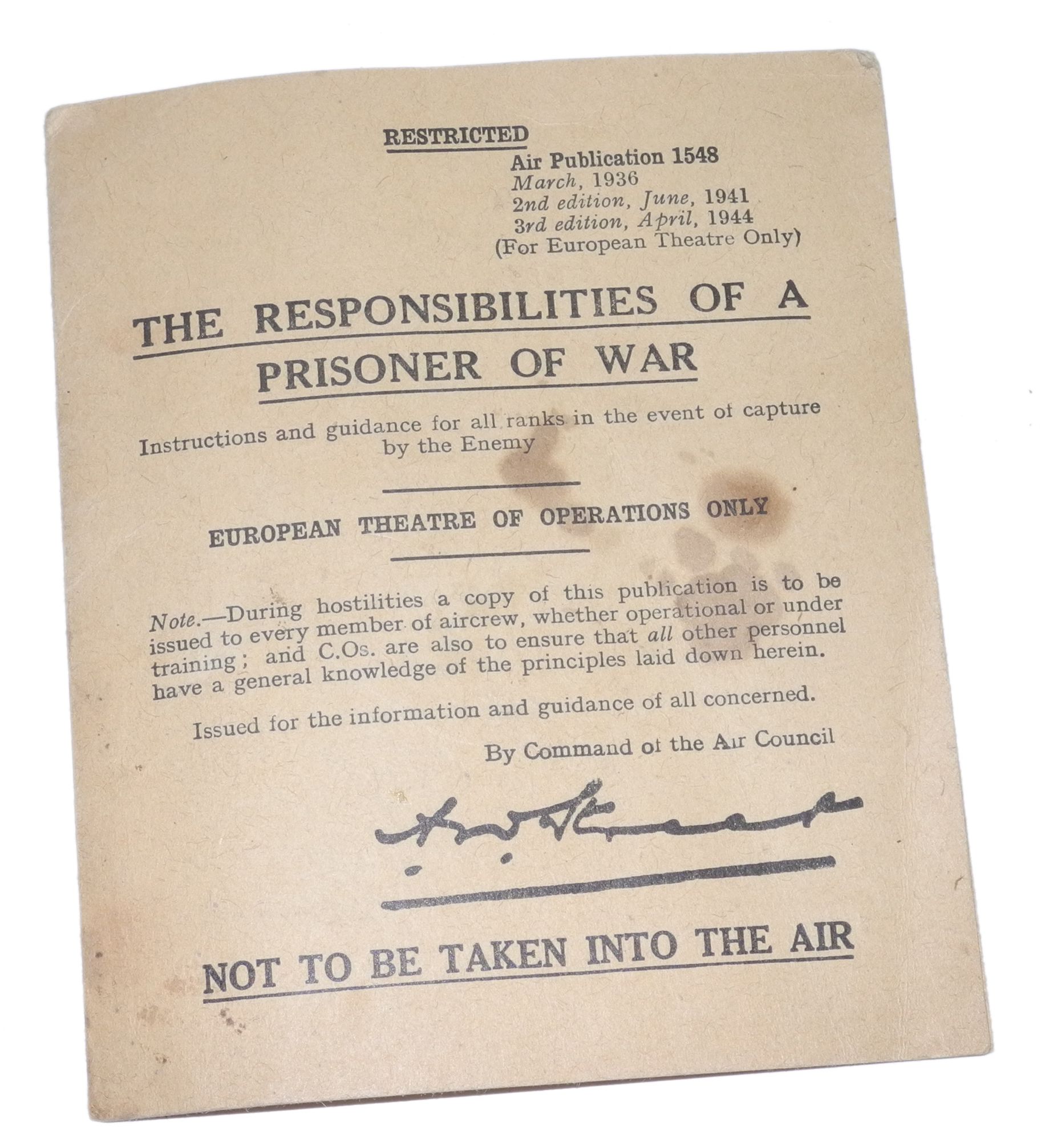 "RAF ""Responsibilities of a POW"" card"