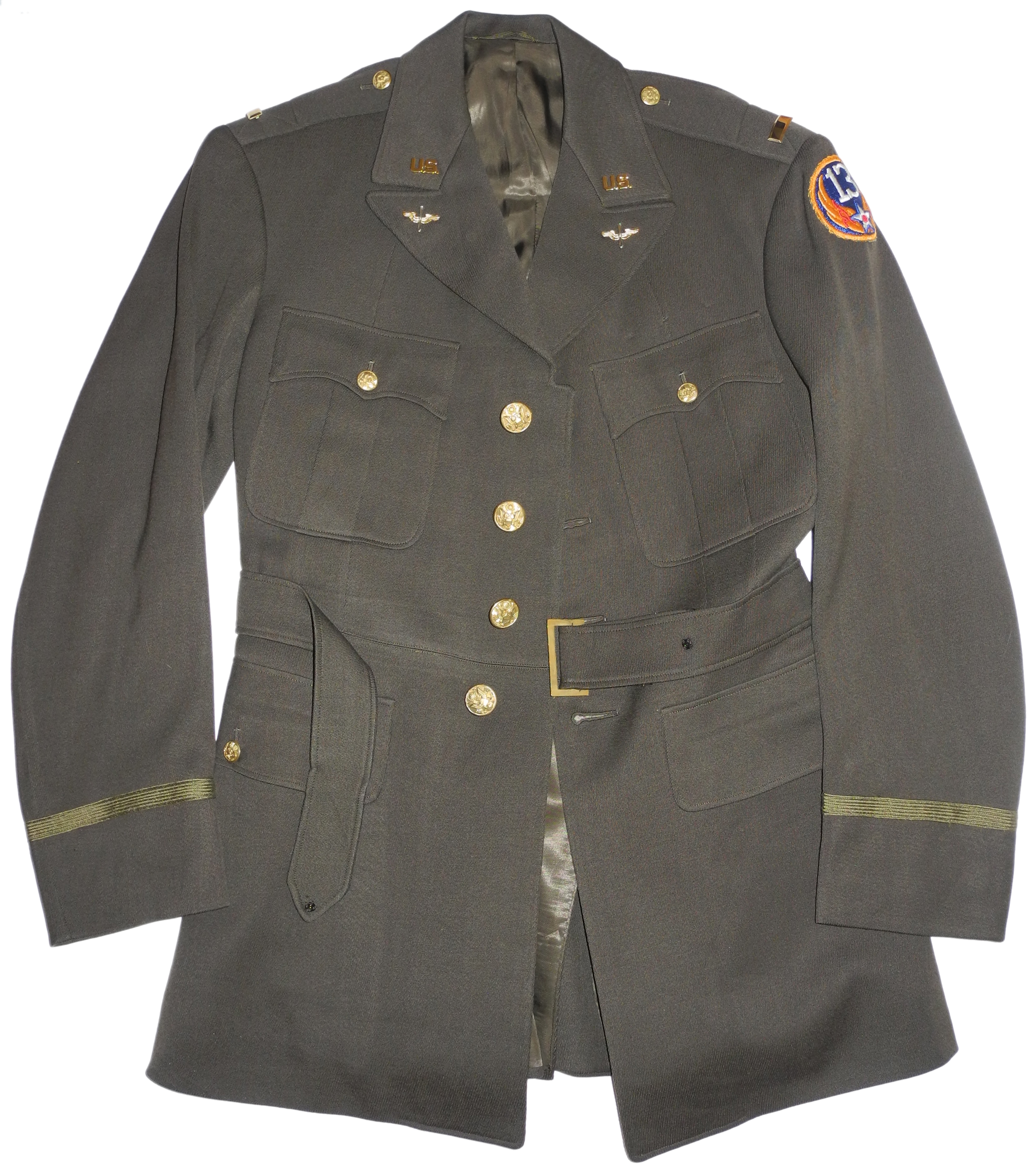 AAF officer's green 4-pocket tunic 13th AF