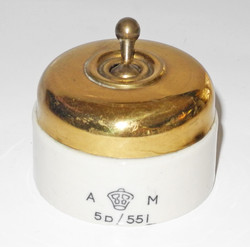 RAF aircraft electrical switch, brass and enamel