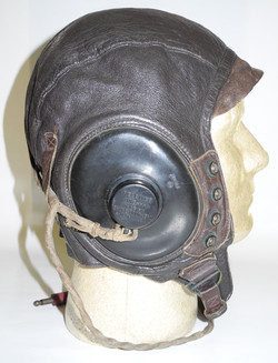 AAF Type A-11 flying helmet, wired with receivers, size large