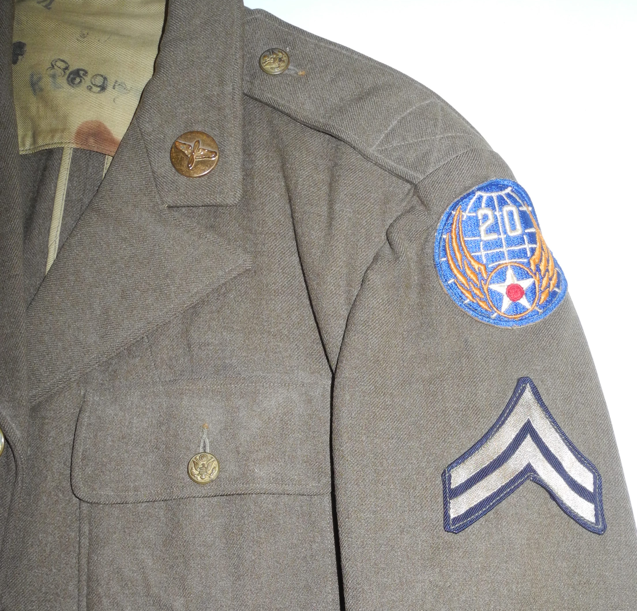 AAF enlisted 20th AF 4-pocket tunic13th AF 4-pocket tunic