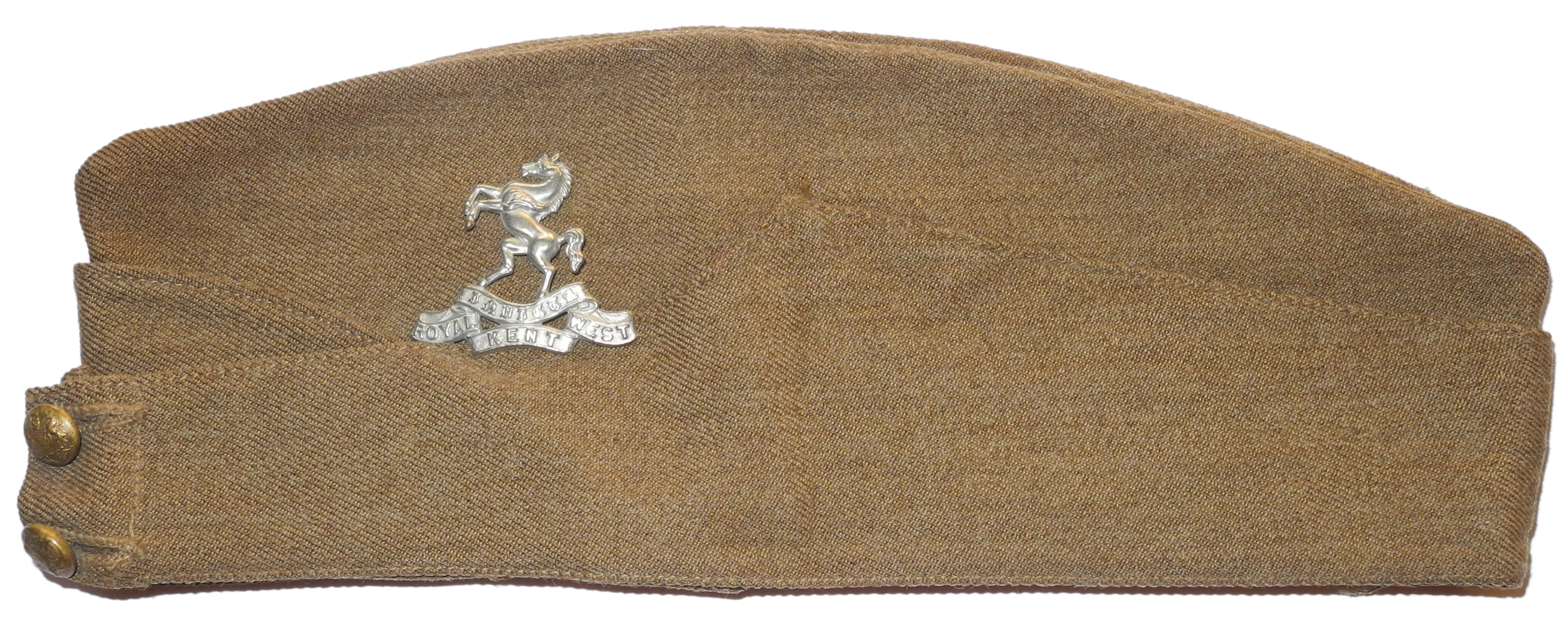 British Army sidecap with Royal West Kent Regt. badge
