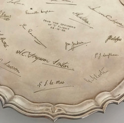 RAF officer's mess silver platter with signatures