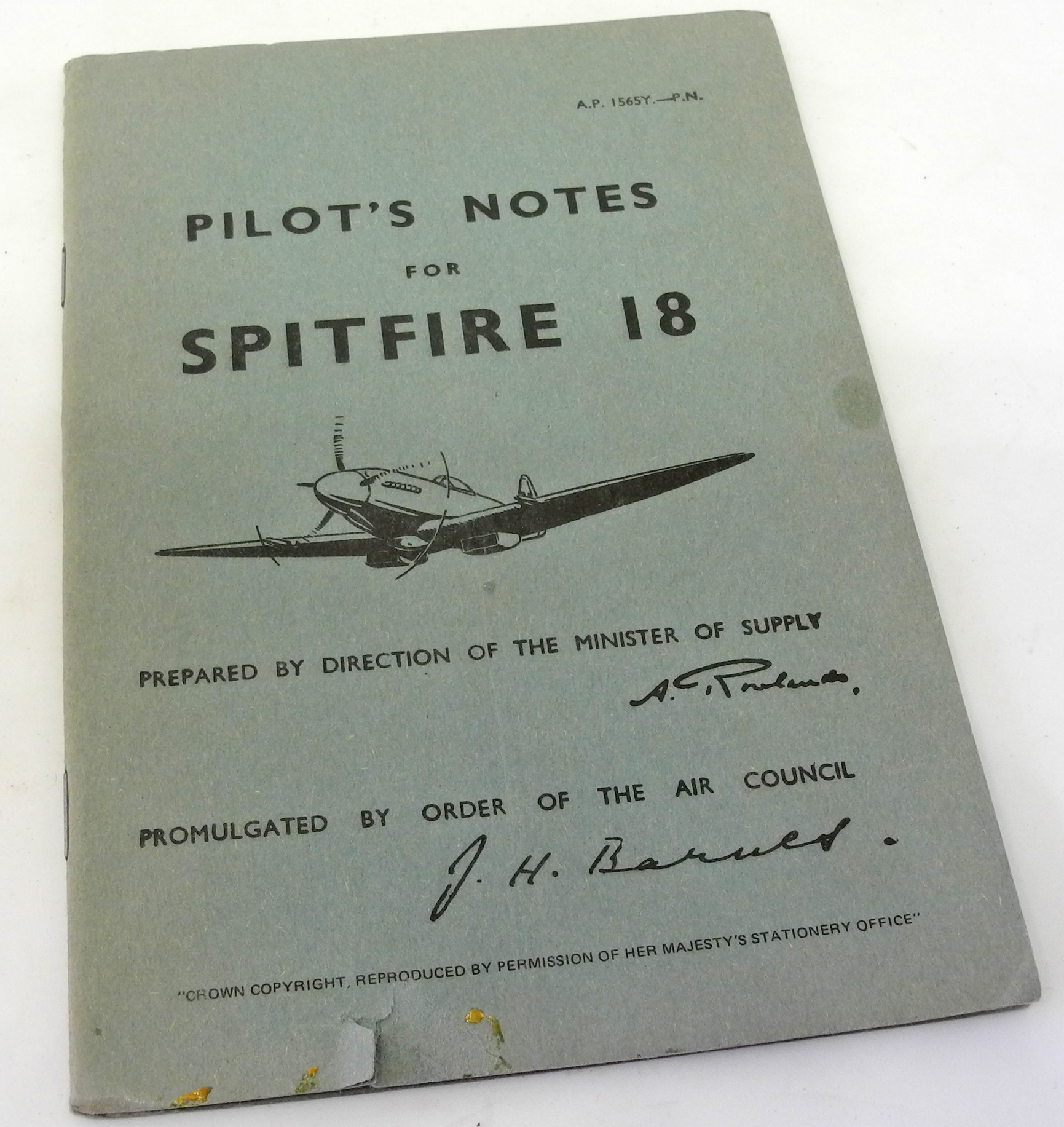 Pilots Notes Spitfire 18 (reprint)