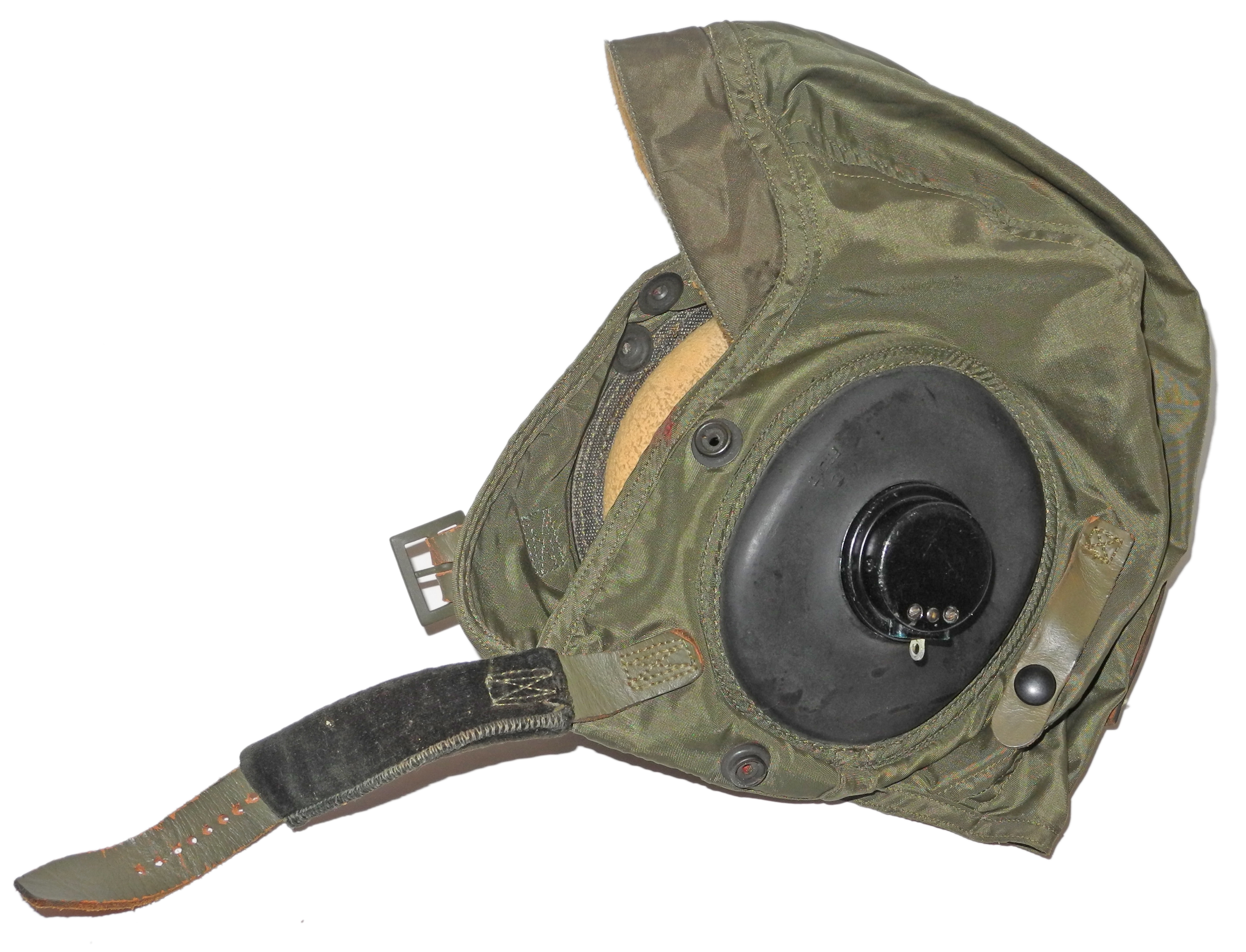 USN green nylon flying helmet