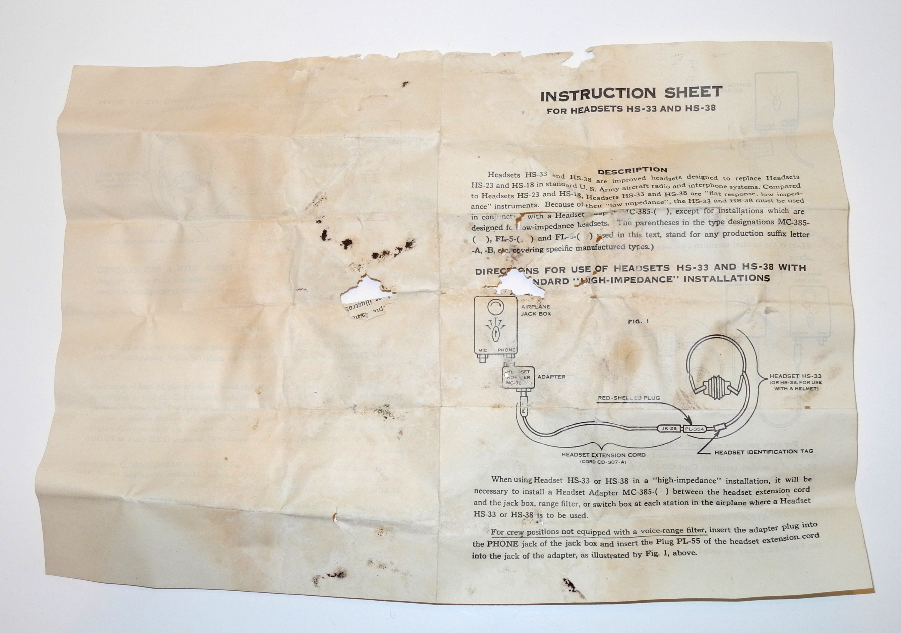 Instruction sheet for HS-33 / HS-38 radio headset.