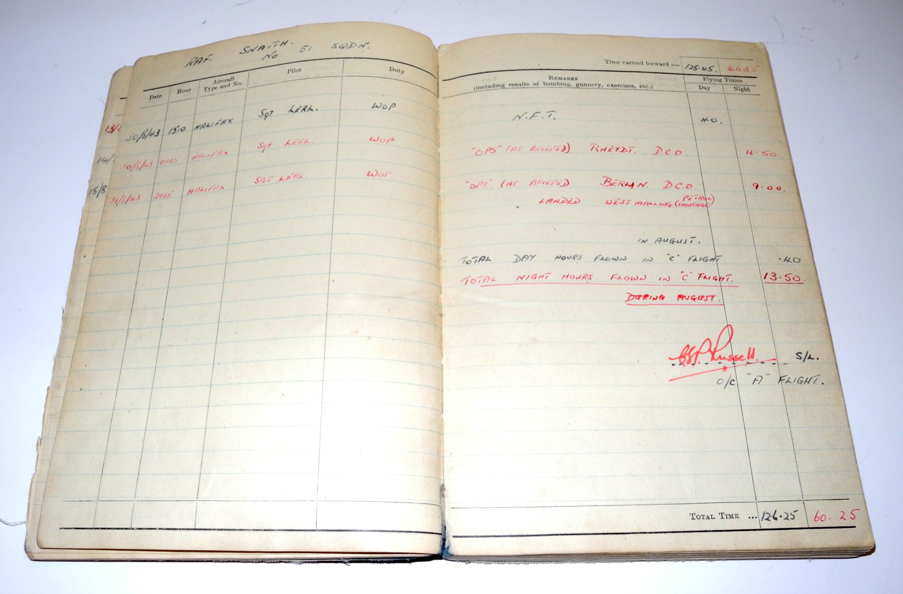RAF DFC award / log book grouping