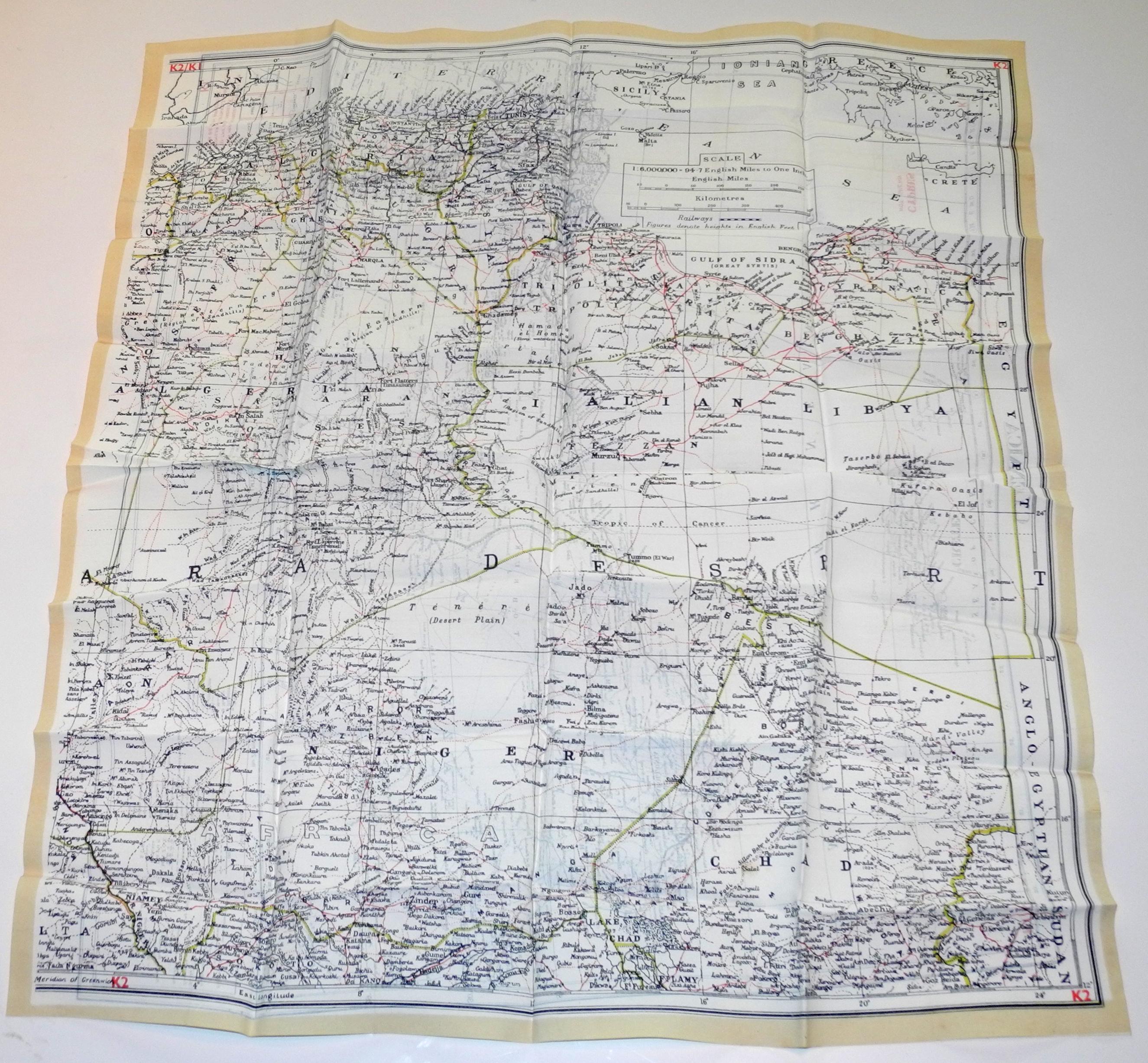 RAF escae map Libya/Crete/N.Africa K1/K2escae map Libya/Crete/N.Africa K1/K2