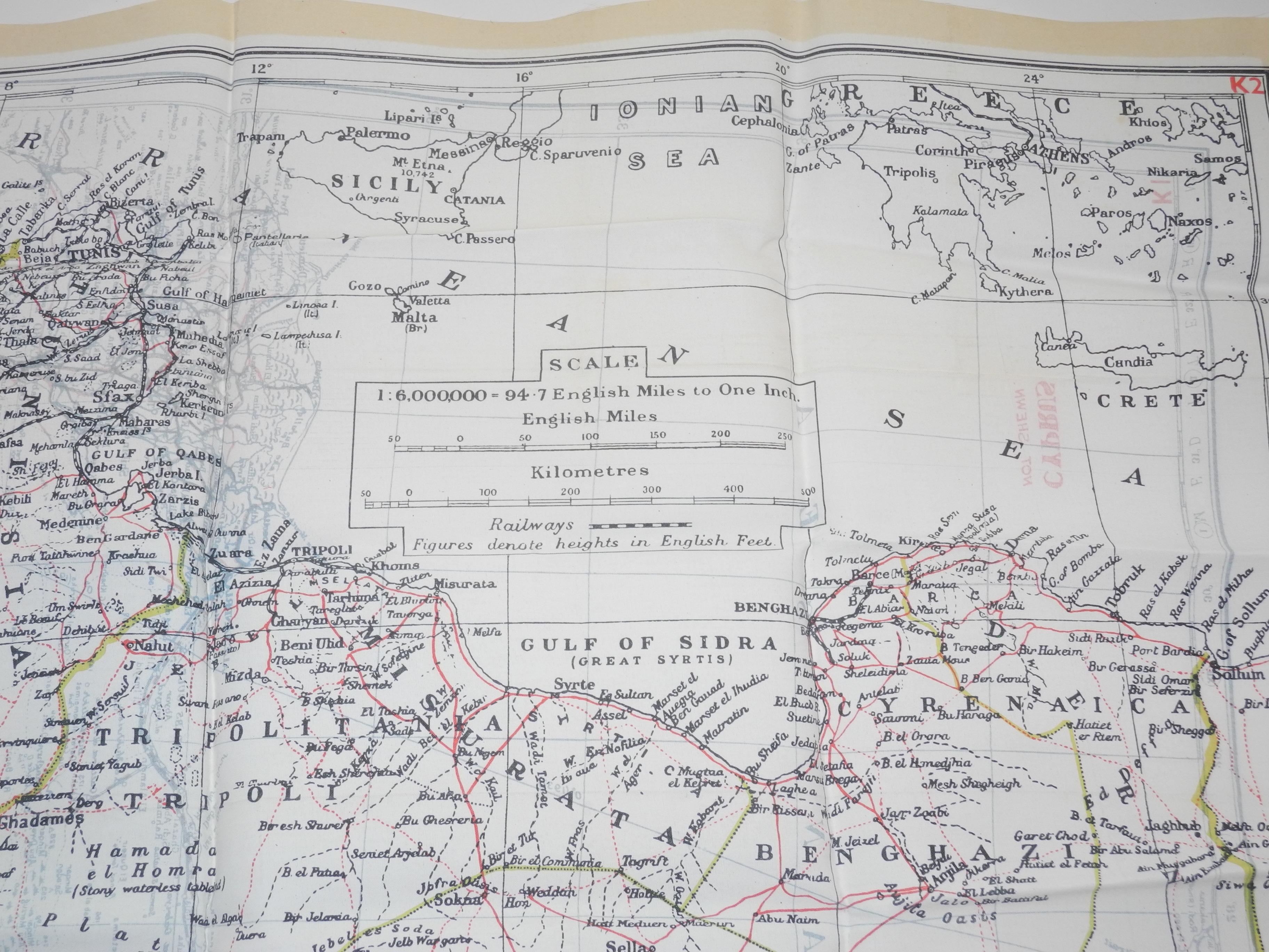 RAF escae map Libya/Crete/N.Africa K1/K2