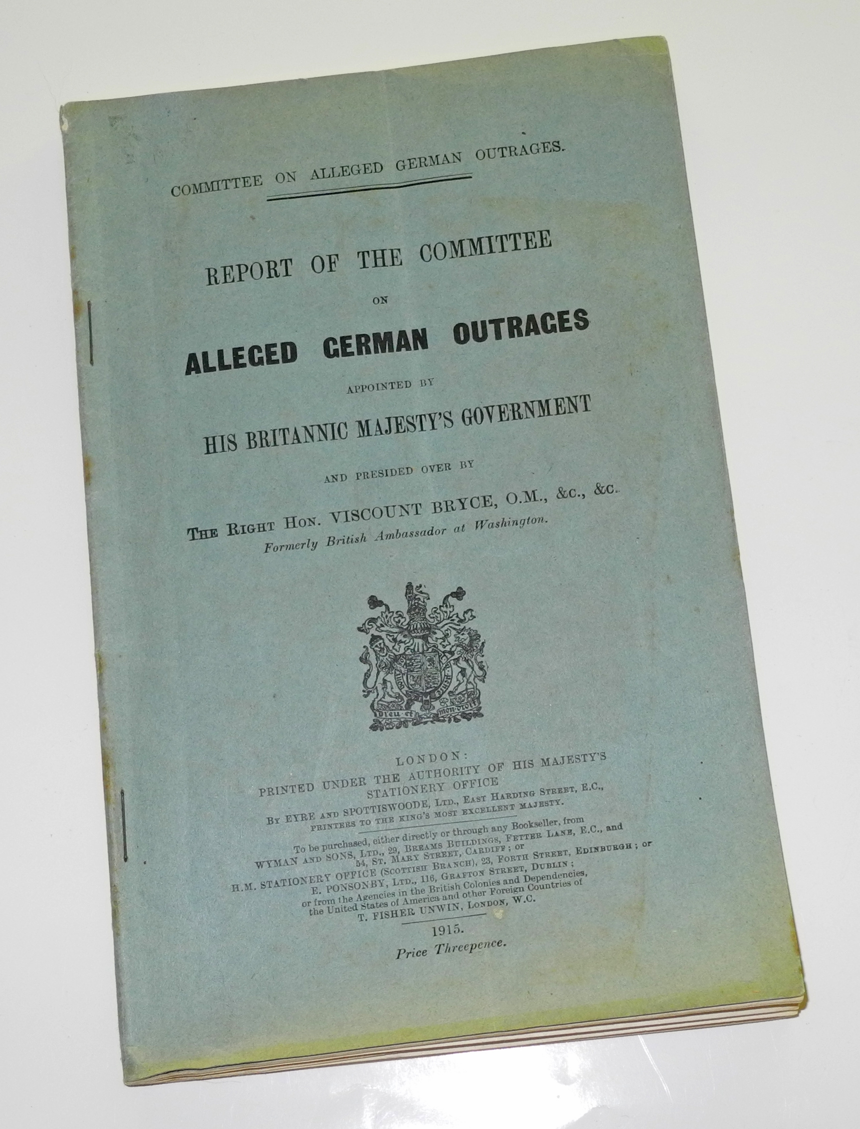 "WWI ""Alleged German Outrages"""