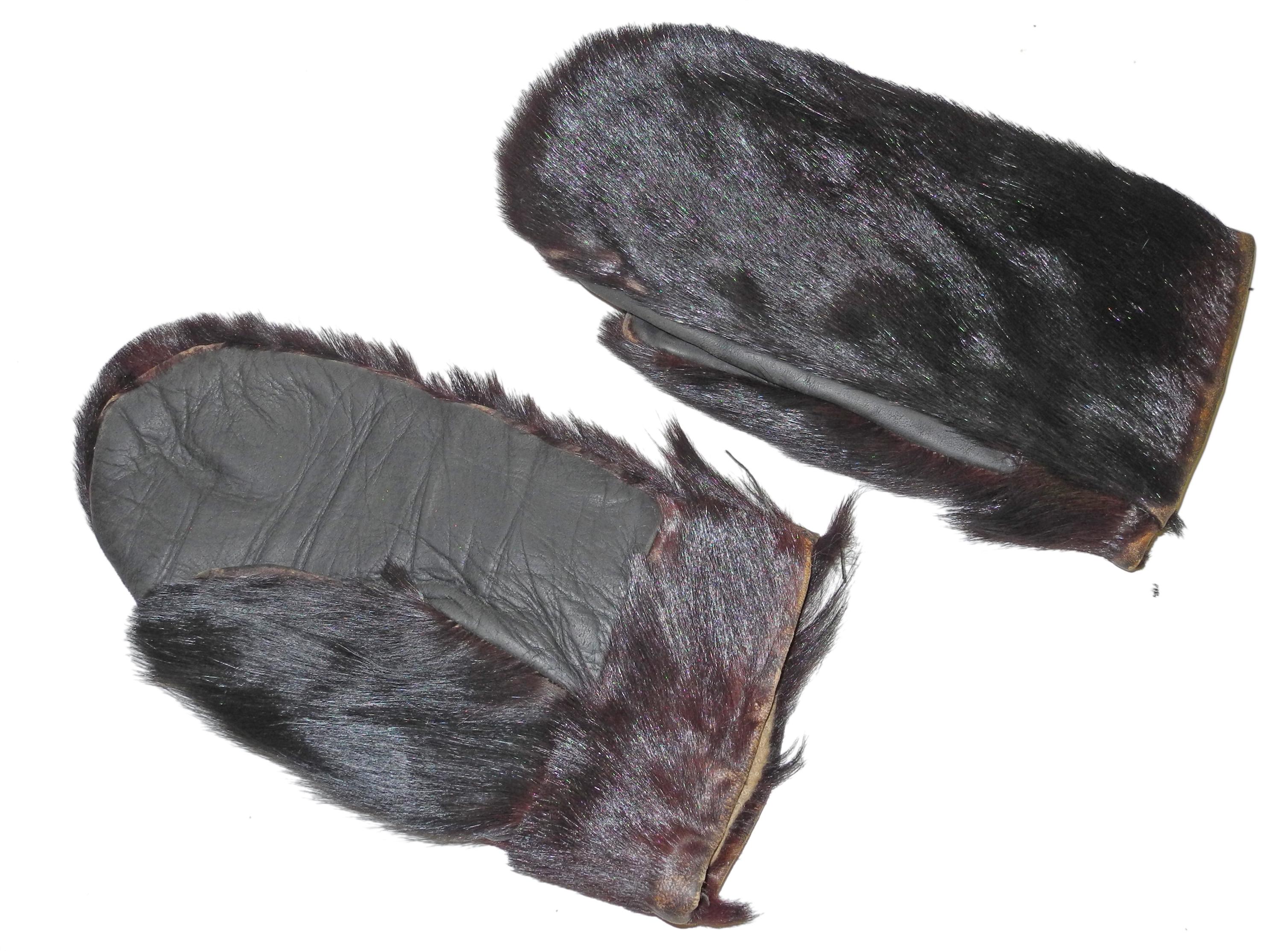 Aviator's beaver skin mittens