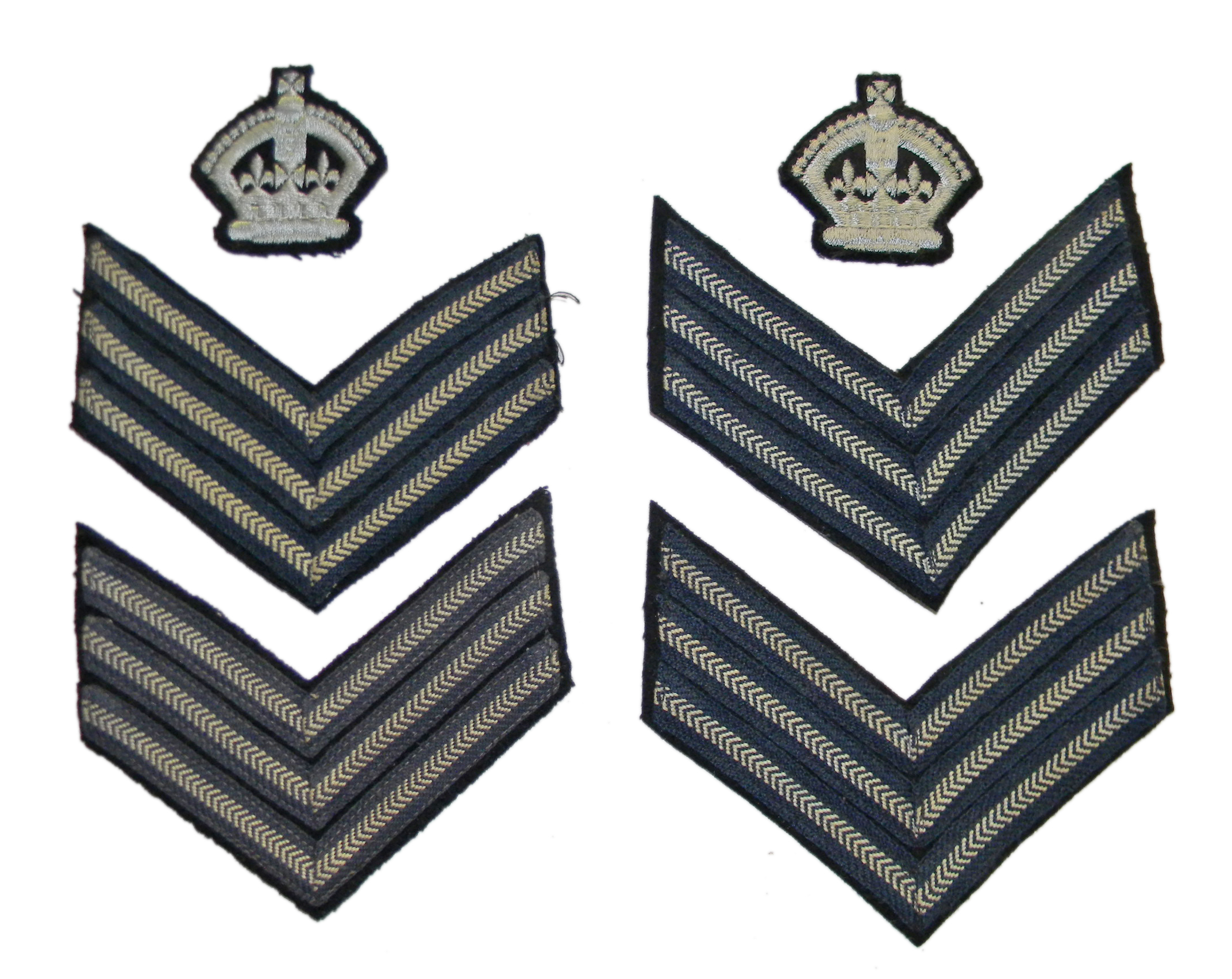 Various WWII RAF NCO rank insignia