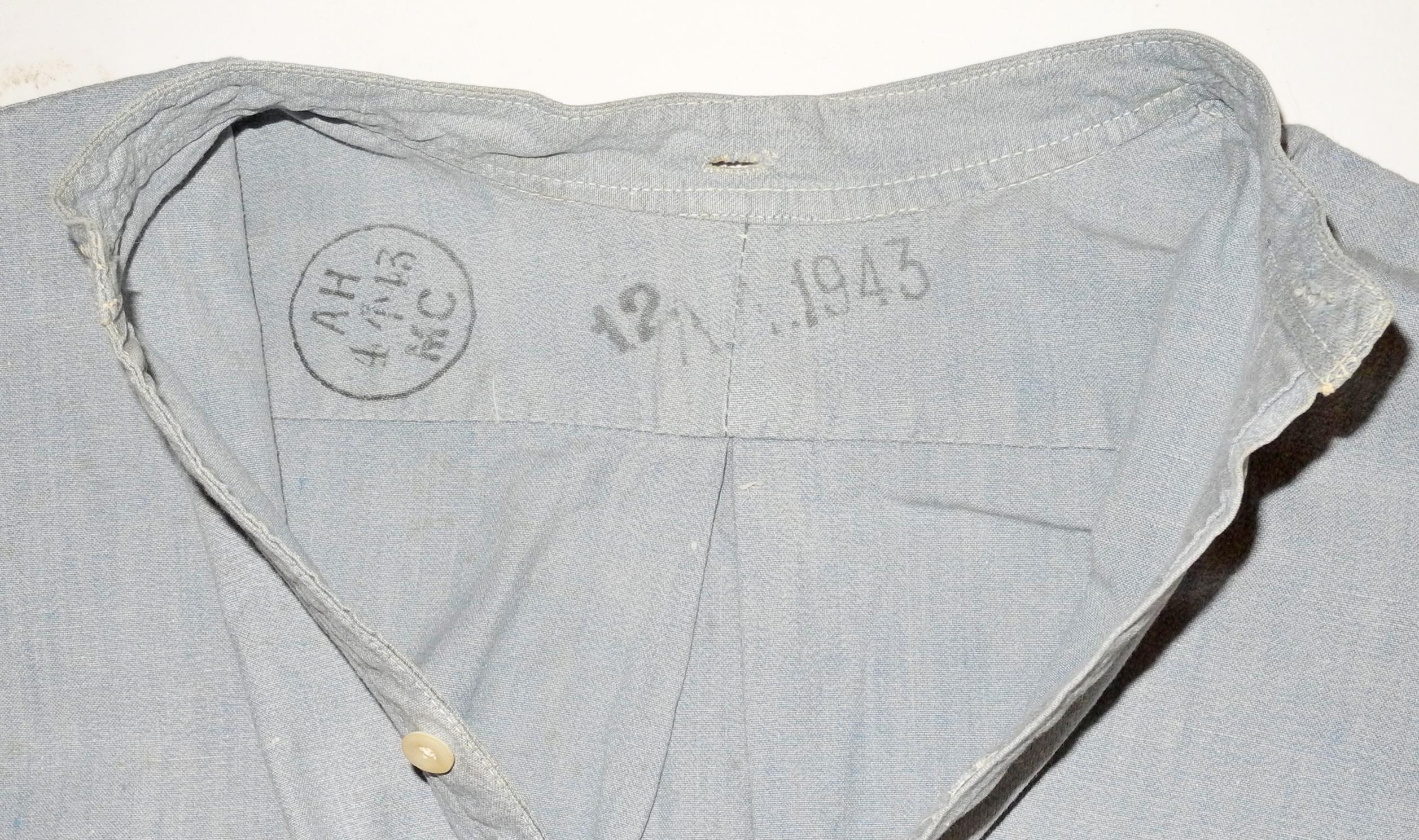RAF collarless shirt dated 1943