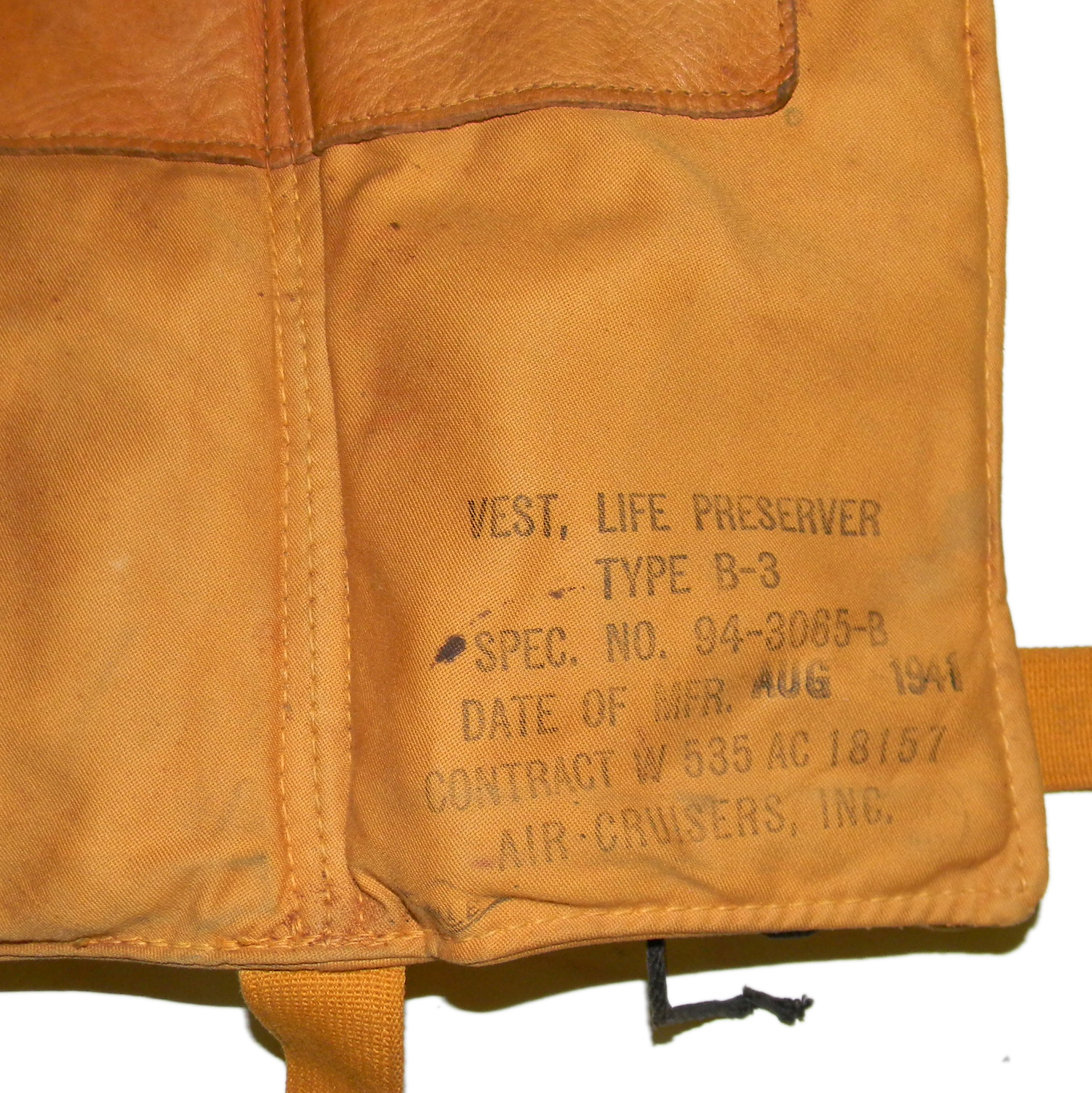 Aug 1941 dated AAF B-3 life vest