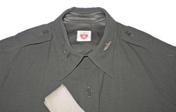 """AAF officer's """"chocolate"""" wool shirt with insignia and khaki wool tie."""