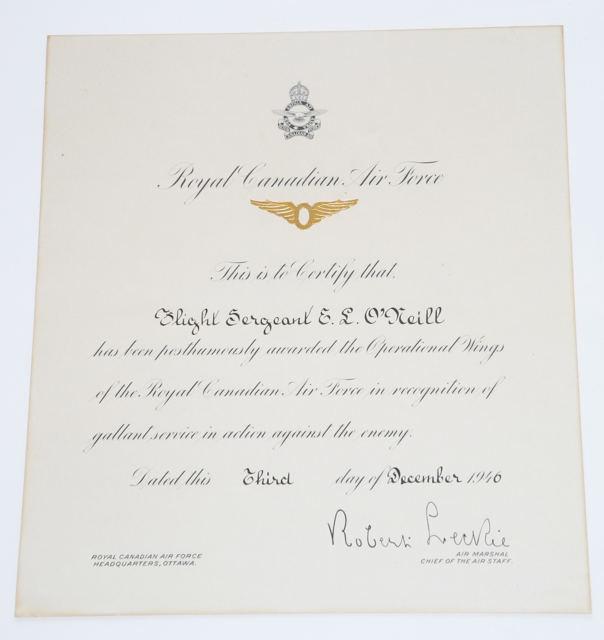 RCAF ops wing, certificate and let