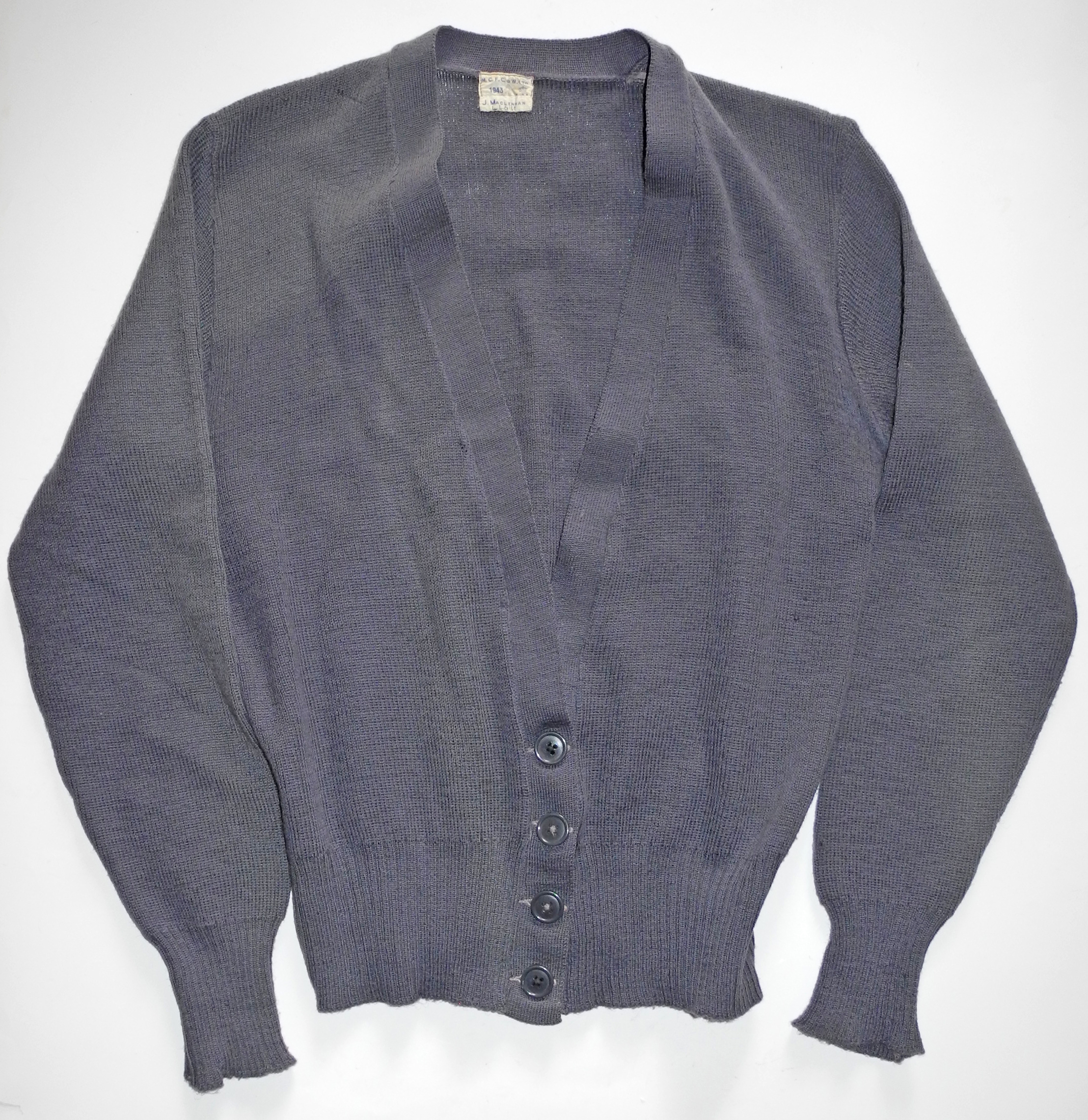 WAAF uniform cardigan, named and dated 1943
