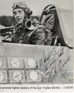 Hub Zemke autographed photo and letter