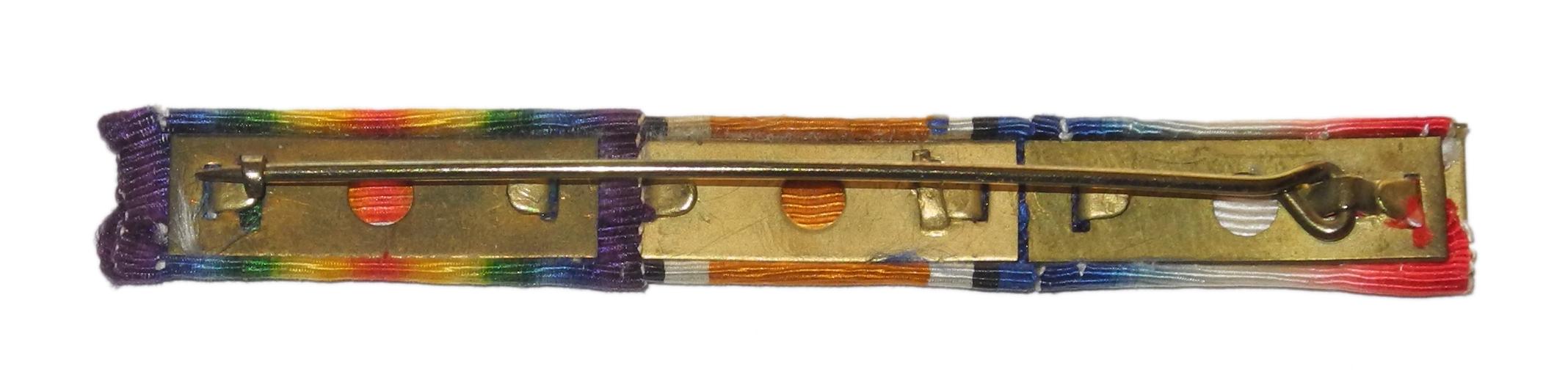 WWI medal ribbons on pinback bar
