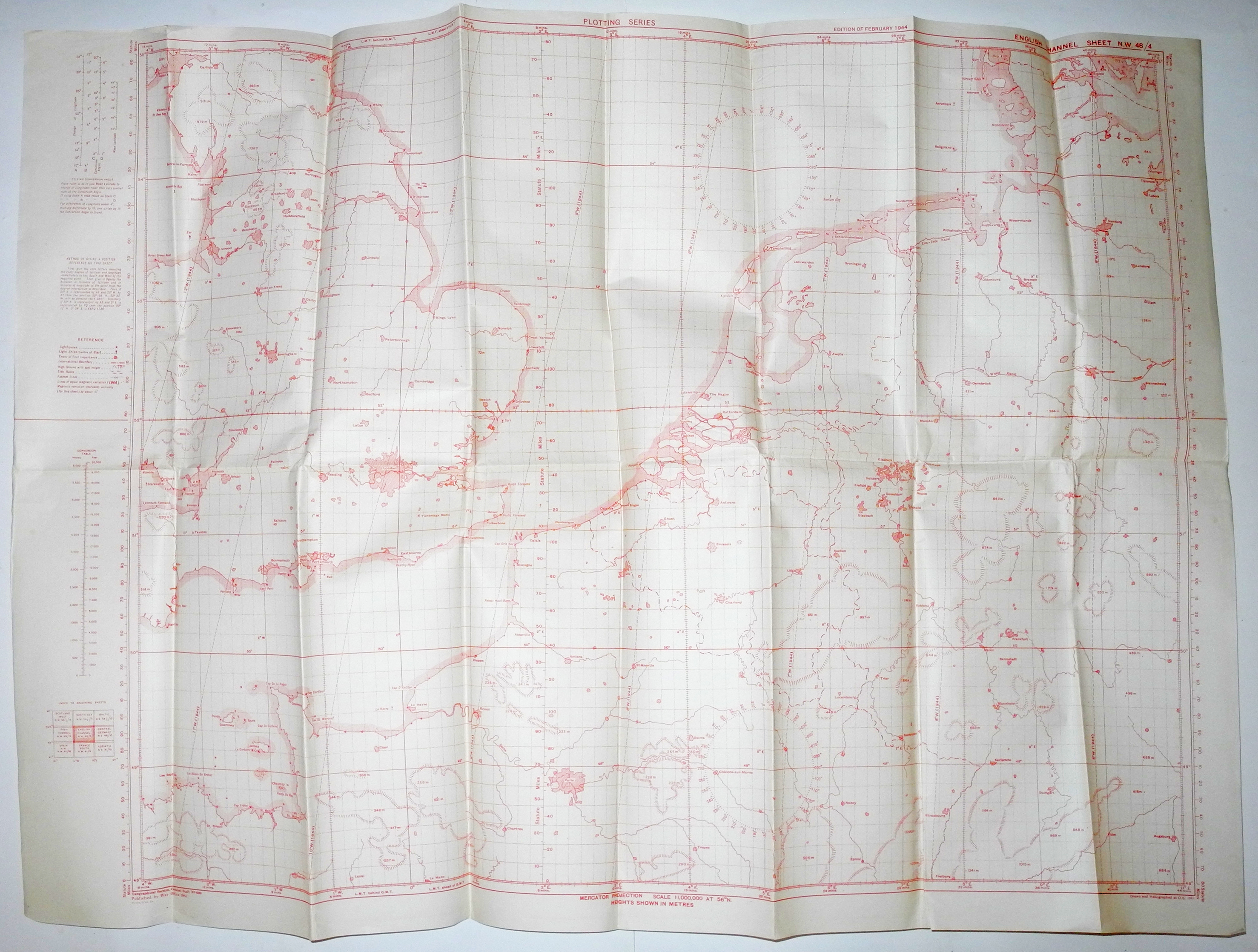 RAF Navigator's route mapping chart Germany 1944