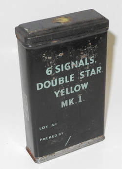 RAF signal flare tin container - double yellow star