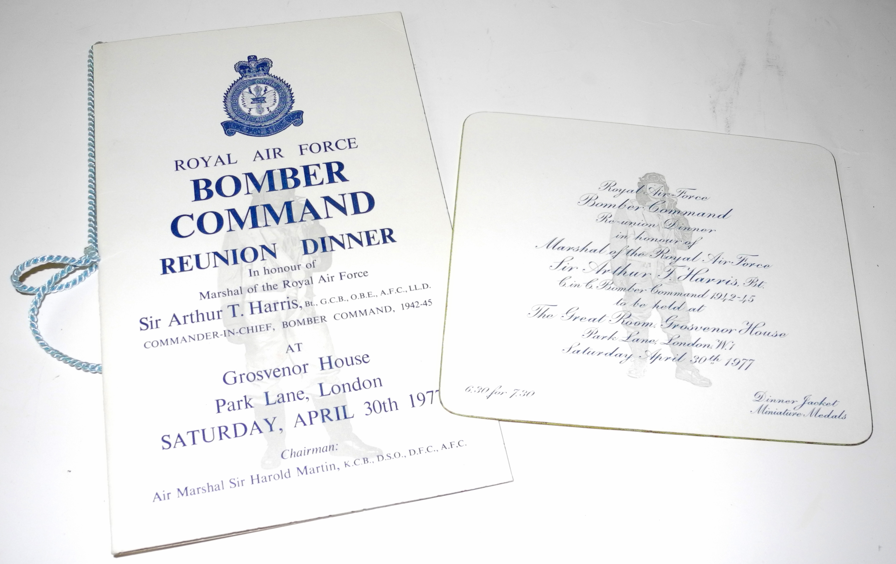 Bomber Command dinner menus