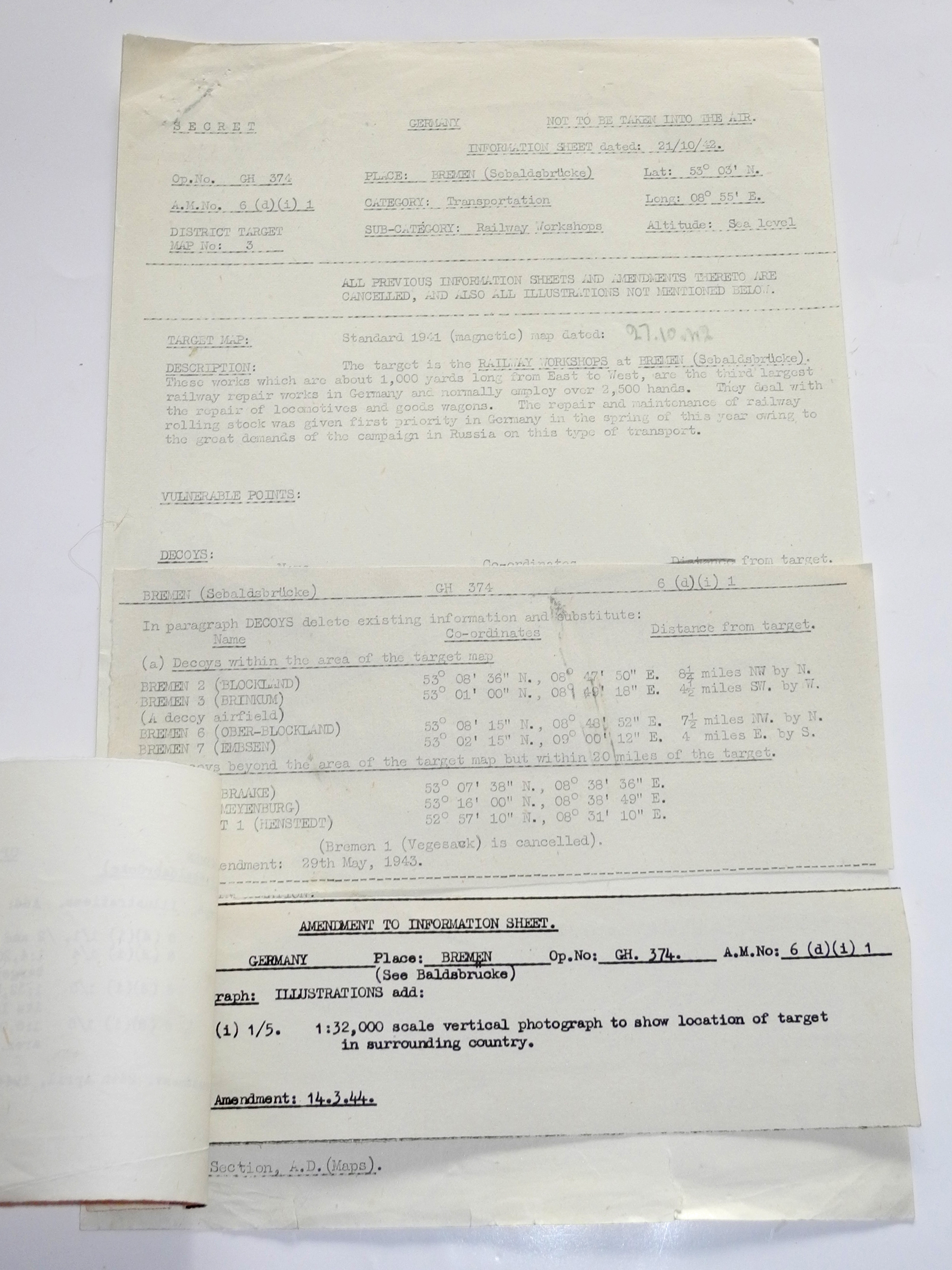 RARE complete set of RAF mission orders, maps and charts for a bombing raid on Bremen, April 24th, 1
