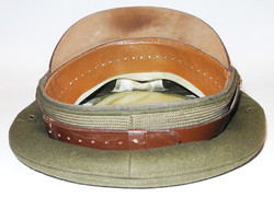 AAF officer's visor cap in chocolate felt with patent leather visor and chin straps.