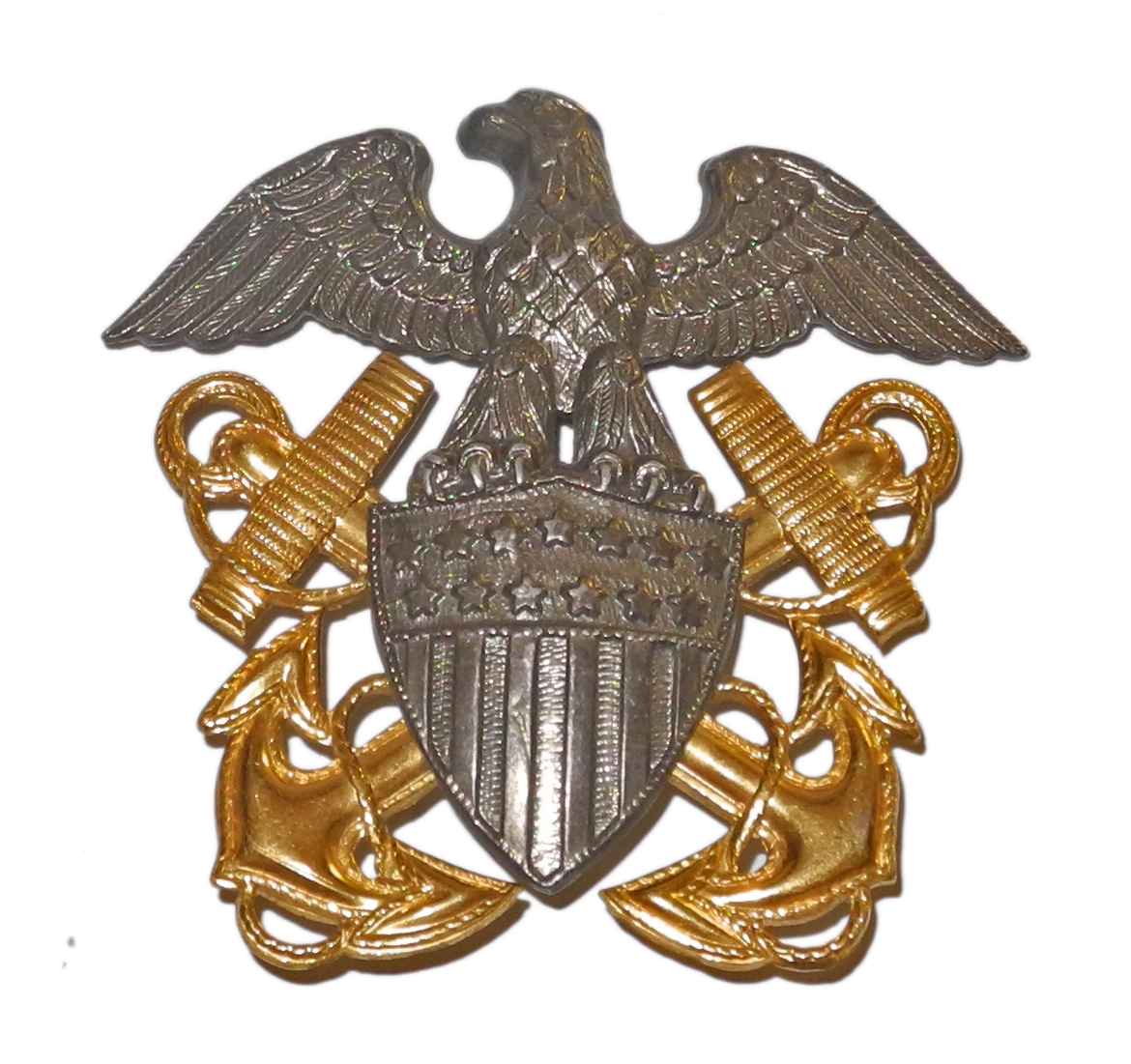 WWII US Navy officer's cap badge