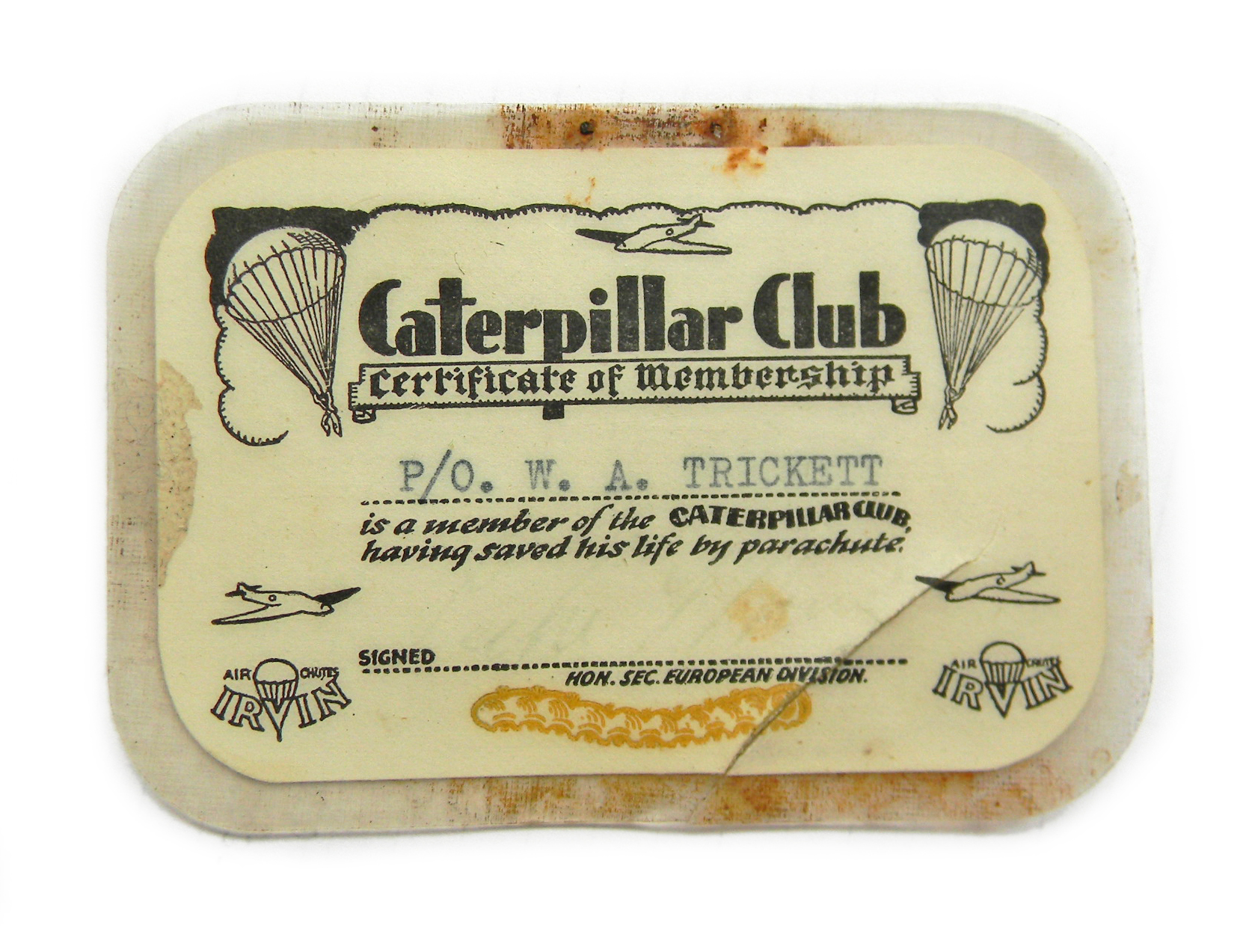 WWII RAF Caterpillar Club card